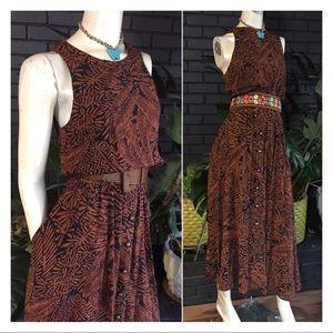Vintage Belted Safari Maxi Dress w Pockets